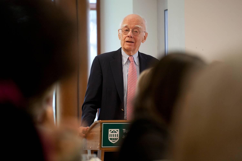 Dean Emeritus John W. Hennessey Jr. speaks at Tuck