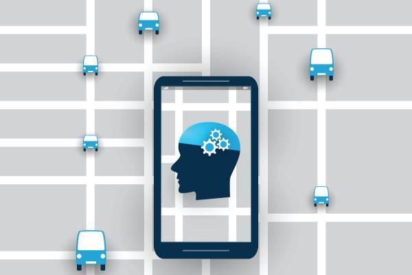 illustration showing mobile phone and autonomous vehicle