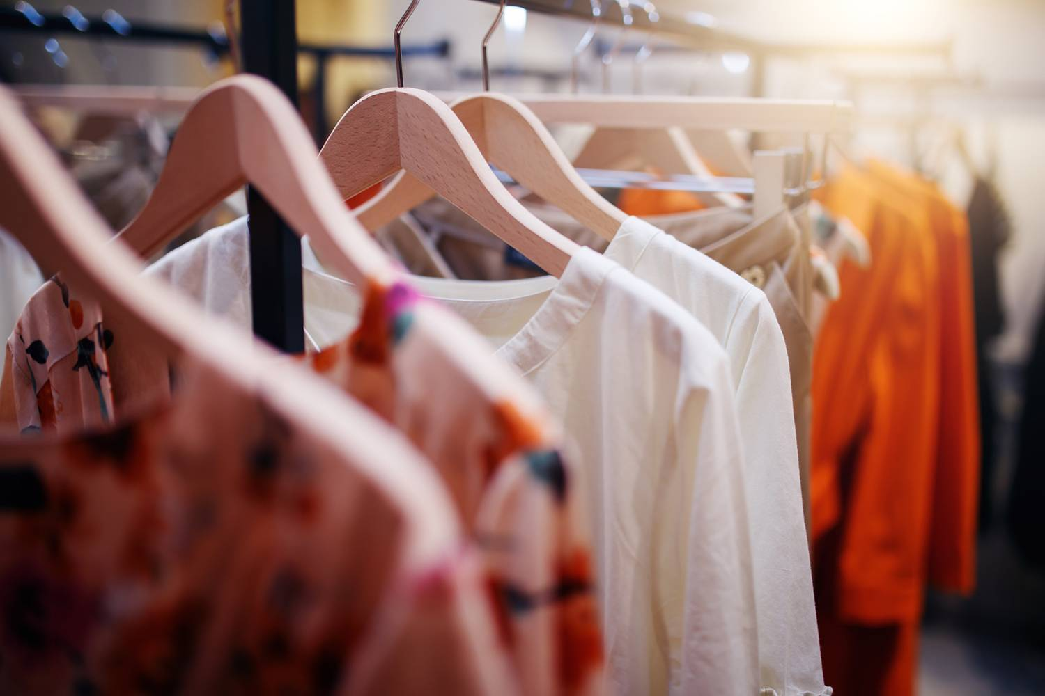 Retail clothing on hangers