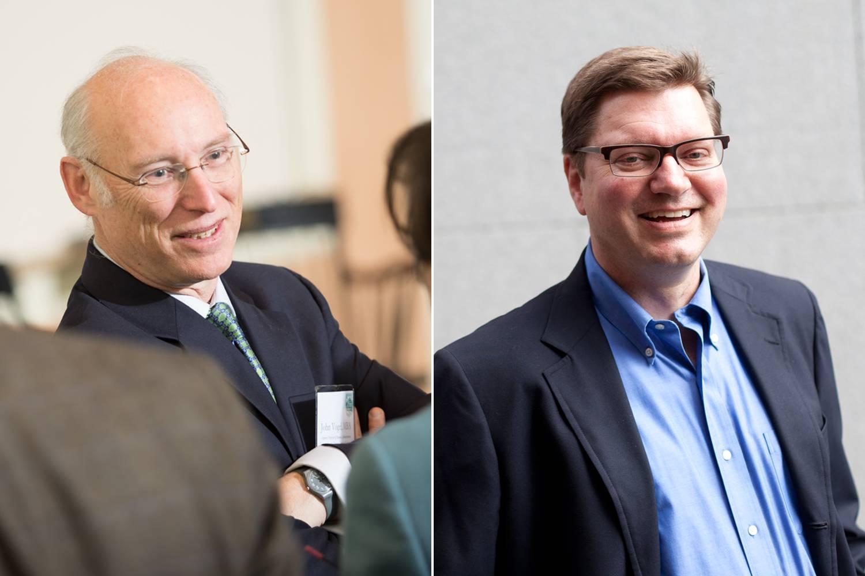 Professors John Vogel and Andrew Bernard, winners of Tuck's Teaching Excellence Award