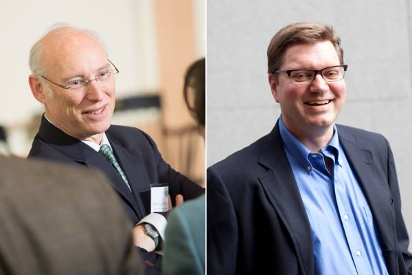 Professors John Vogel and Andrew Bernard, winners of Tuck's Teaching Excellence Award