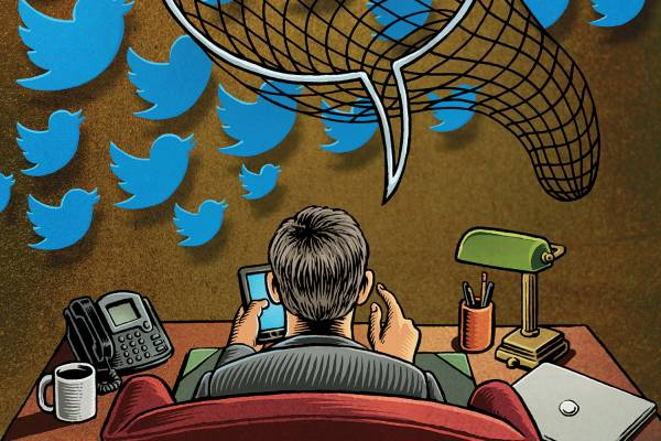 illustration of tweeting executive