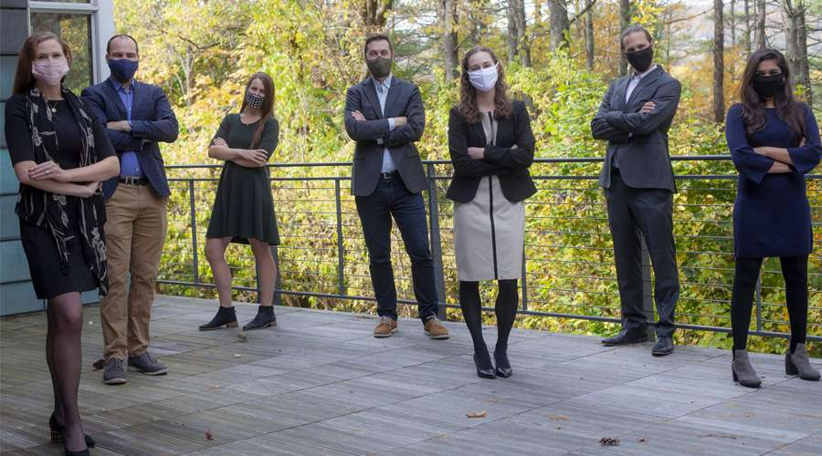 TSVF 2020-2021 Co-Chairs pose for a group photo outside, wearing masks