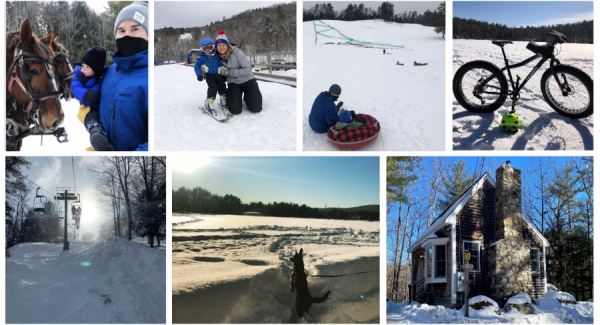 Collage of winter activities at Tuck