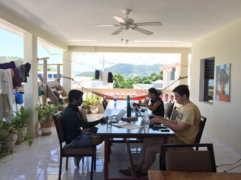 Tuck students onsite during global consulting project in Haiti